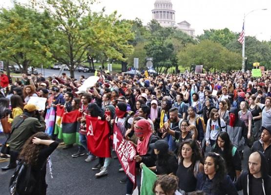 Protestas en Austin, Texas, contra la elección de Donald Trump como presidente de EEUU