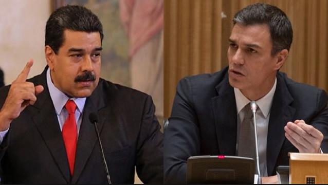 """Maduro califica de """"nefasta"""" la decisión de Pedro Sánchez de reconocer a Guaidó"""